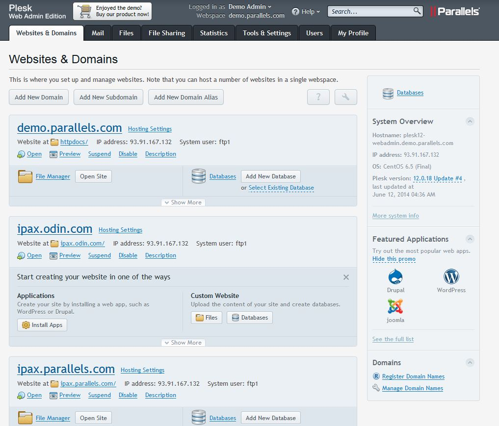 Plesk Webhosting